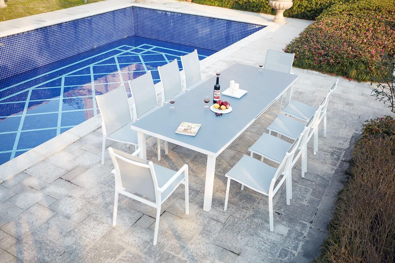 Niari 10 : table de jardin extensible 10 personnes avec 2 fauteuils et 8  chaises en aluminium