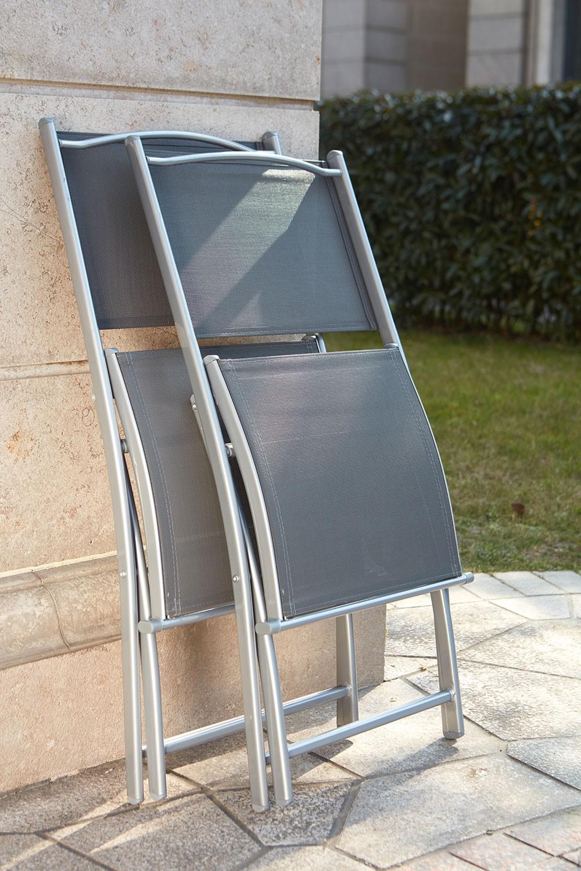 Ensemble Table De Jardin En Aluminium + 4 Chaises Molvina