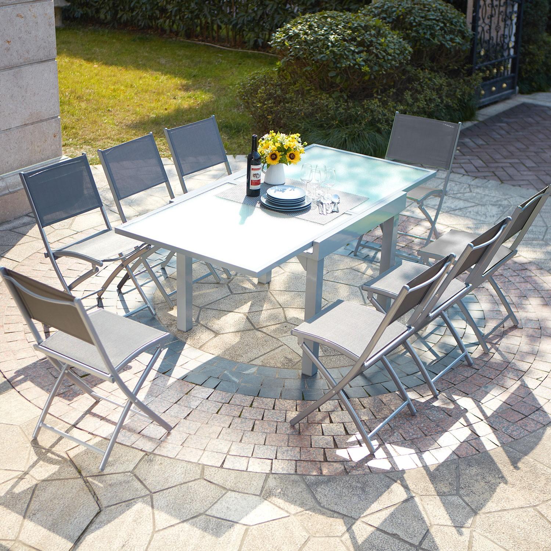 Ensemble table de jardin en aluminium extensible Molvina 8 - Concept ...