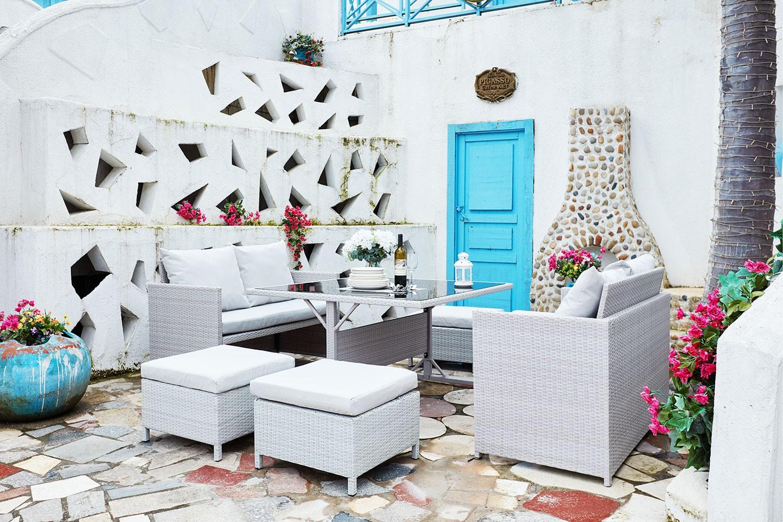 Newah Gris/Blanc : salon de jardin encastrable en résine tressée 8 ...