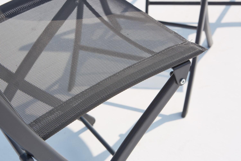 Venise : salon de balcon gris 2 places en acier inoxydable