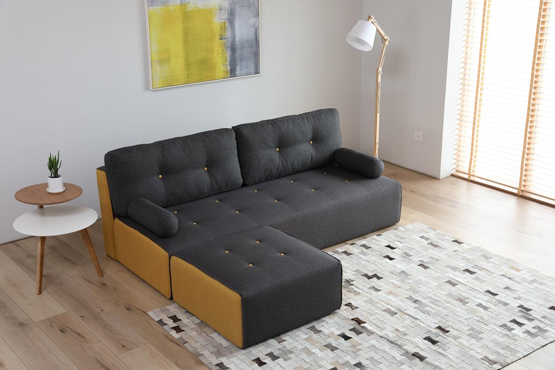 Manhattan gris foncé/jaune : canapé modulable 3 places + 1 pouf gris  foncé/jaune
