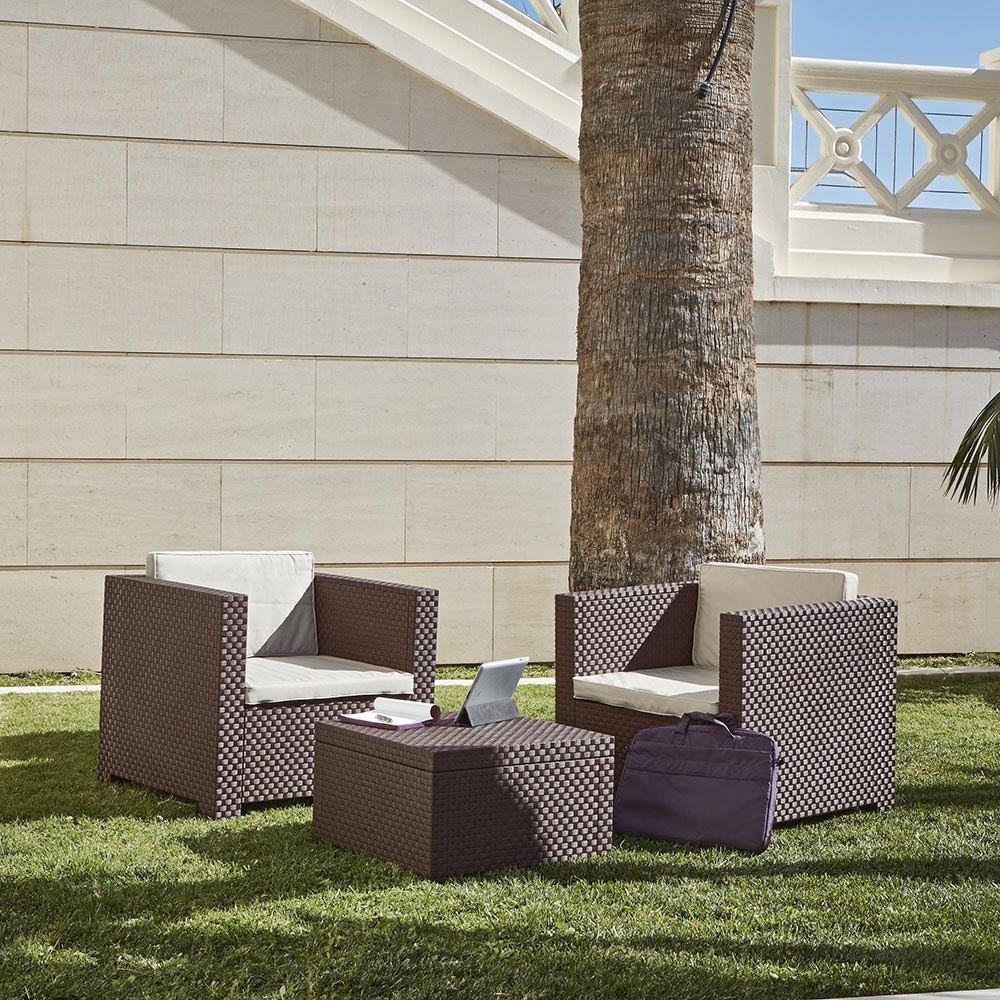 Salon de jardin en résine tressée injectée Ankara 2 marron - Concept ...