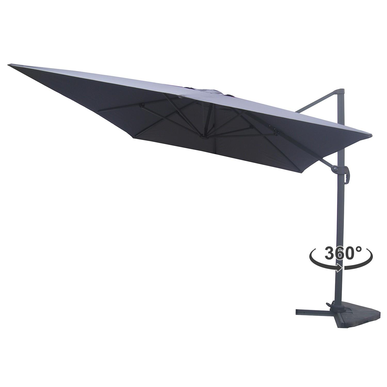 Lumpur gris parasol d port rectangulaire 3x4m rotatif - Parasol deporte rectangulaire 4x3 ...