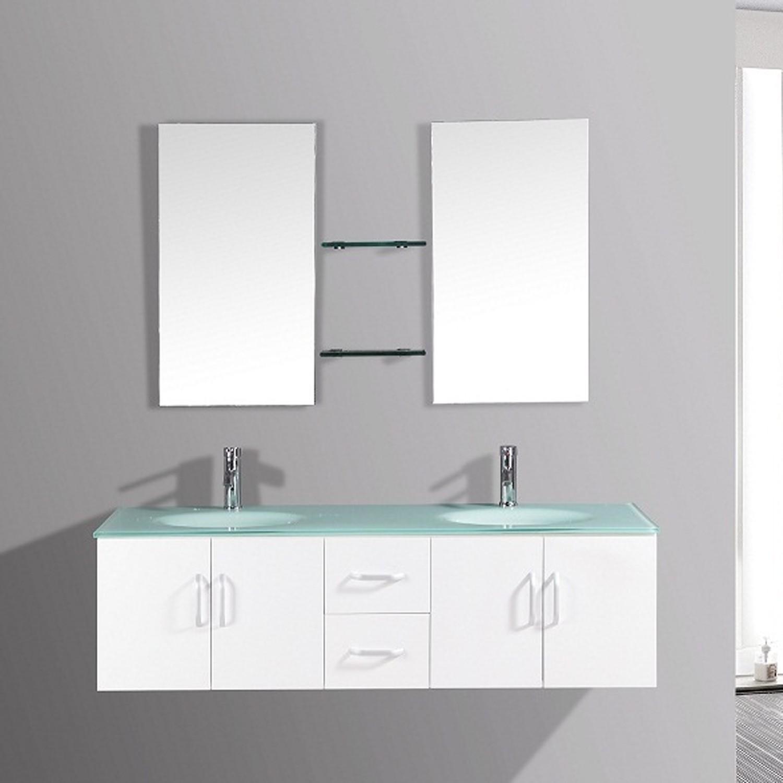 Daya - ensembles meuble +2 vasques + 2 miroirs pour salle de bain - Blanc