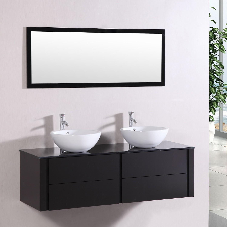 Subla - ensemble meuble + 177 vasques + 17 miroir pour salle de bain - Wengé