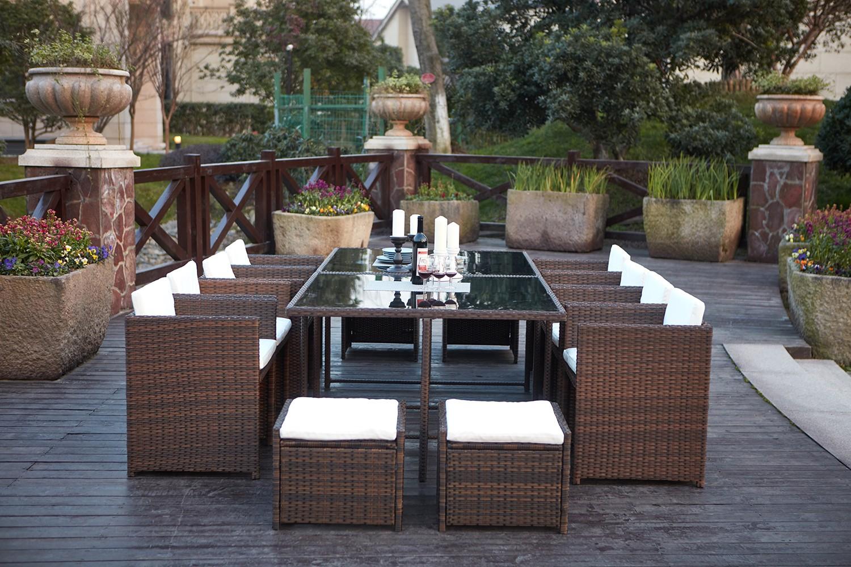 Tofino 12 places - Ensemble de jardin résine tressée encastrable  marron/blanc
