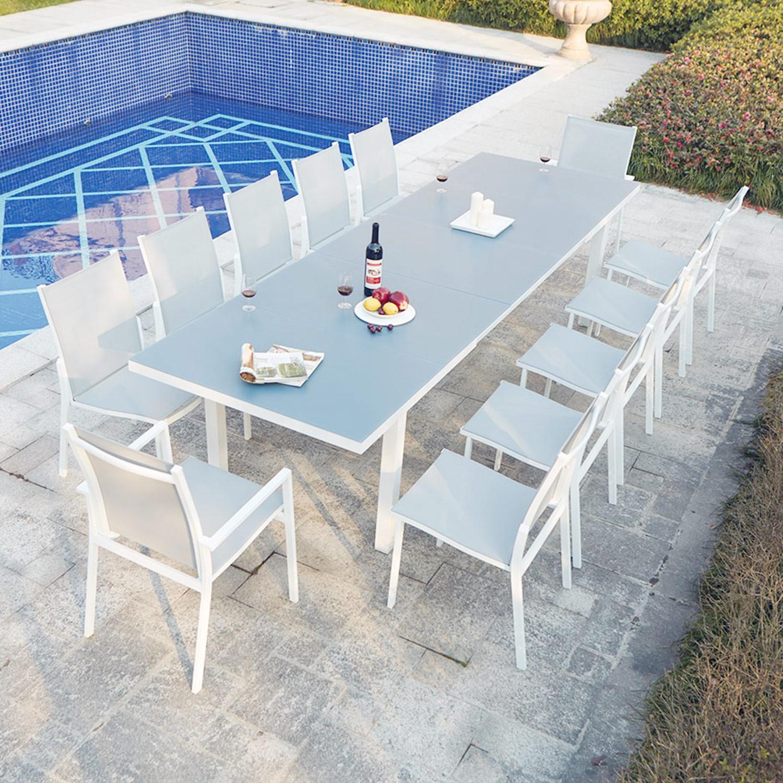 Ensemble table de jardin extensible en aluminium Moniga 12 - Concept ...