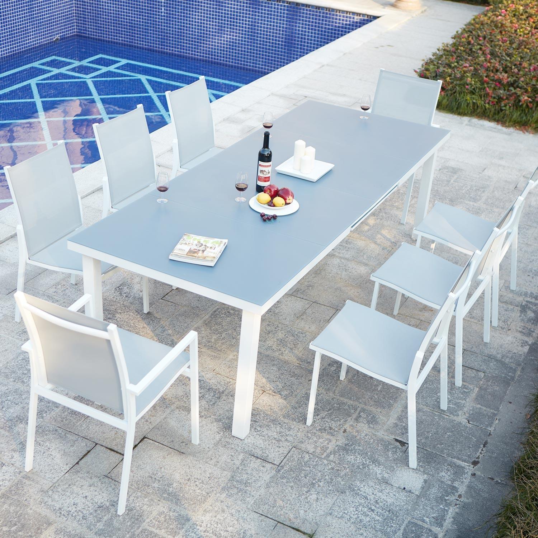 Niari 8 : table de jardin extensible 8 personnes avec 2 fauteuils et 6  chaises en aluminium