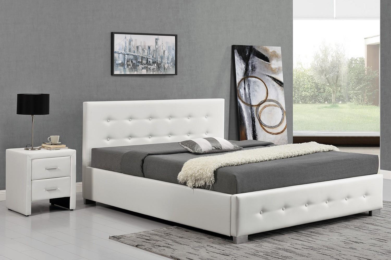 Calpton 140 Blanc Cadre De Lit Design Avec Coffre De Rangement