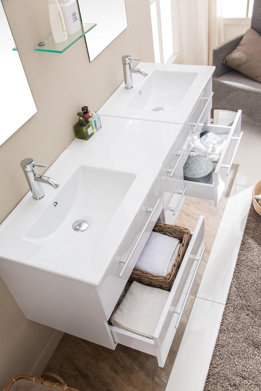 Lezio - ensemble meuble + 2 vasques + 2 miroirs pour salle de bain ...