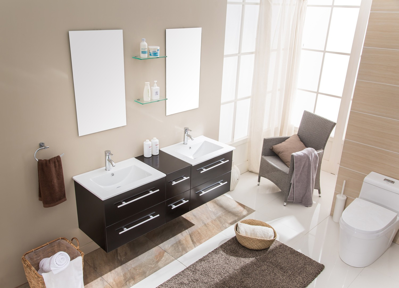 Lezio - ensemble meuble + 2 vasques + 2 miroirs pour salle de bain - Wengé