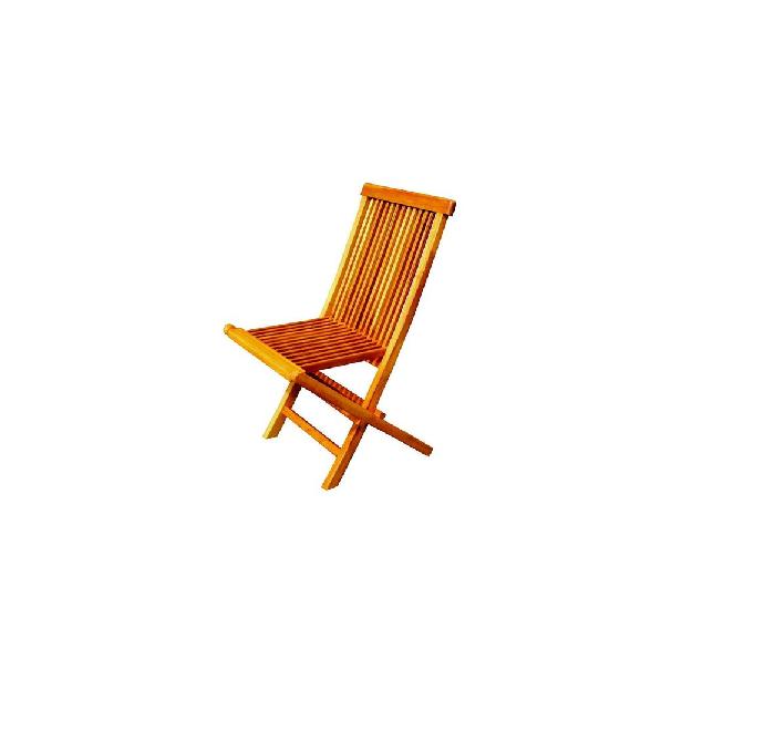 Lot de 4 chaises pliantes jardin teck brut huilé