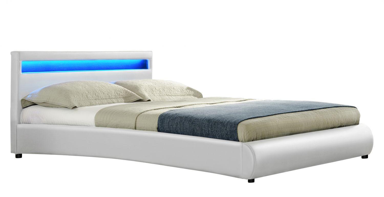 Reseda Cadre De Lit Simili Cuir à LED Blanc Xcm Cadres De - Cadre de lit simili cuir