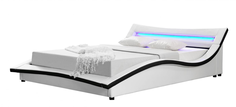Maravista Cadre De Lit Simili Cuir Avec LED Blanc Xcm - Cadre de lit simili cuir