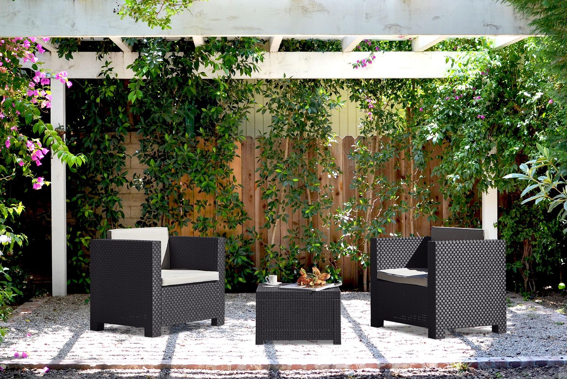 ubud 2 salon de jardin 2 places effet r sine tress e gris. Black Bedroom Furniture Sets. Home Design Ideas