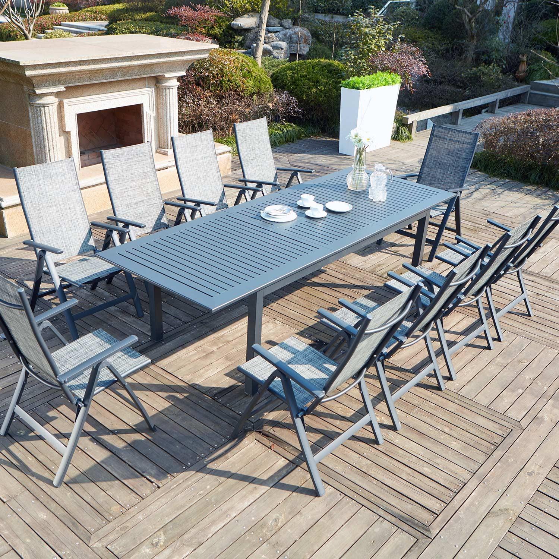 table de jardin extensible 10 chaises en aluminium berana concept usine. Black Bedroom Furniture Sets. Home Design Ideas