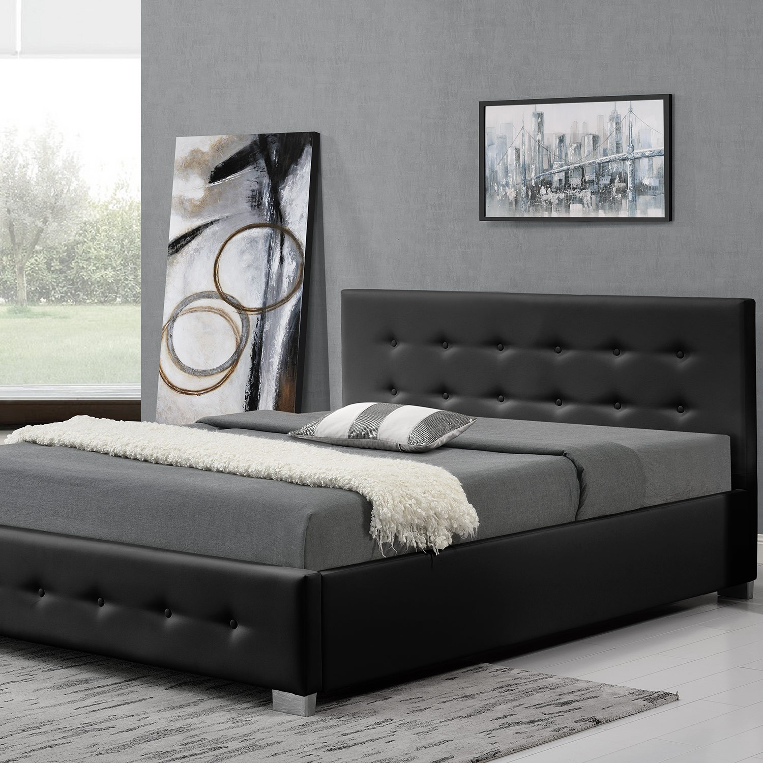 clapton 140 noir cadre de lit design avec coffre de. Black Bedroom Furniture Sets. Home Design Ideas