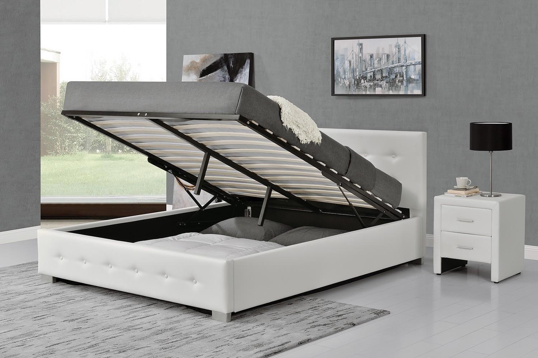 calpton 140 blanc cadre de lit design avec coffre de rangement cadres de lit rangements. Black Bedroom Furniture Sets. Home Design Ideas