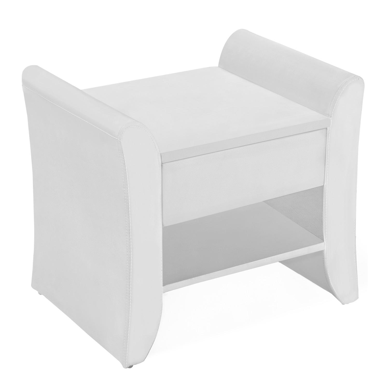 kingston blanc table de chevet en simili blanc avec tiroir et tagre with table de nuit etagere. Black Bedroom Furniture Sets. Home Design Ideas