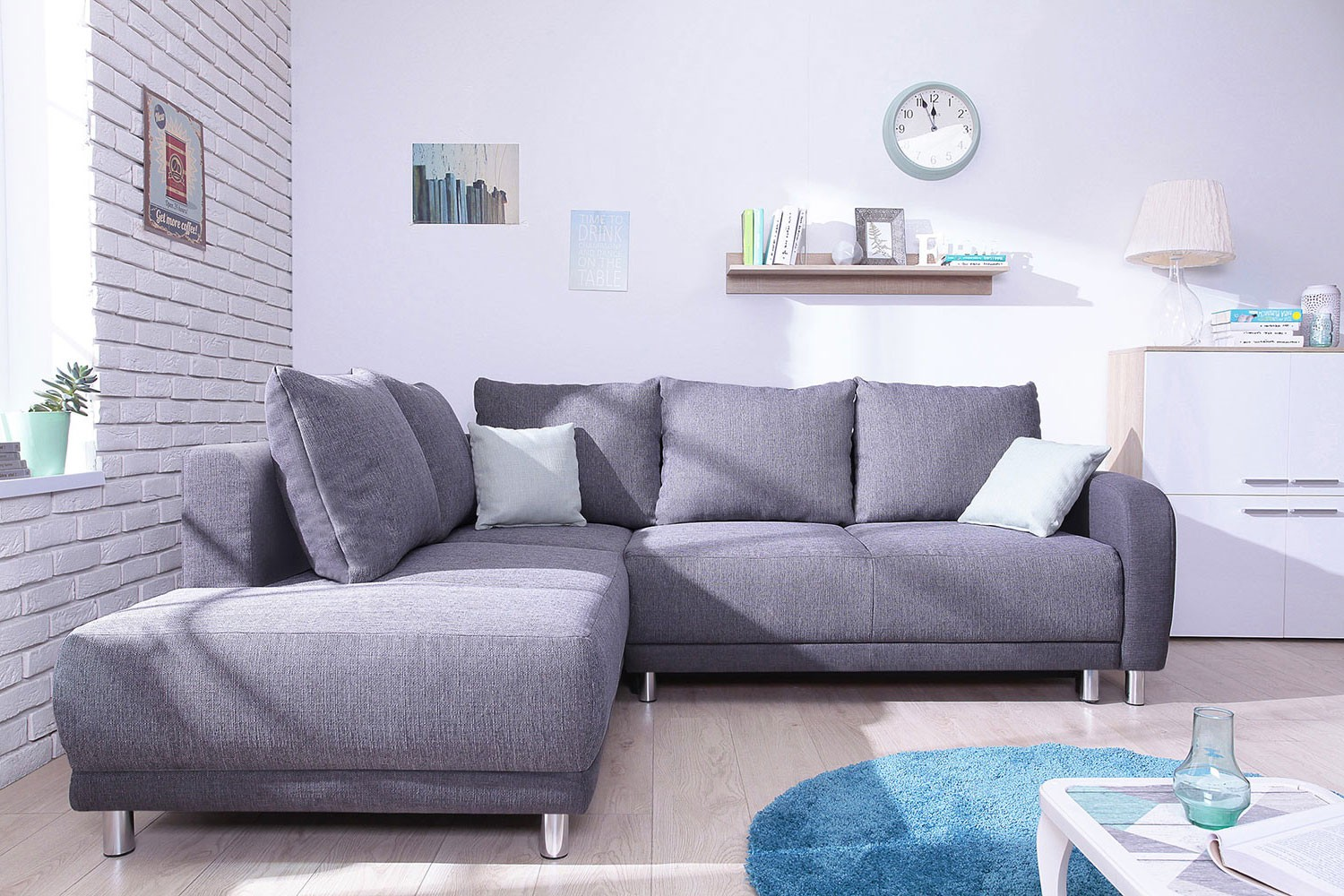 Minty Grand Angle gauche - Canapé convertible scandinave Bobochic bicolore gris anthracite