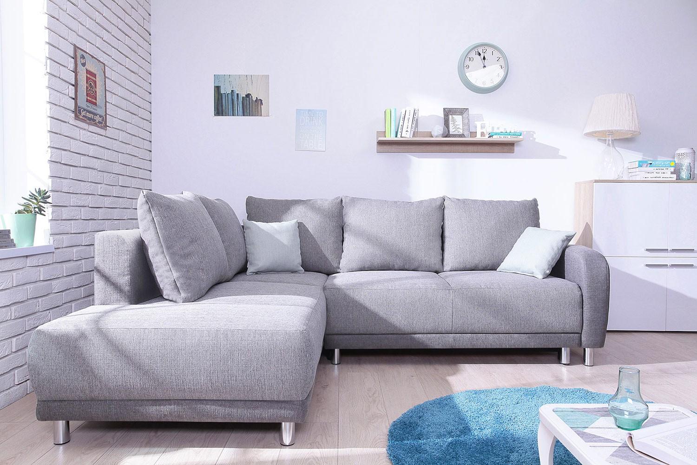 Minty Grand Angle gauche - Canapé convertible scandinave Bobochic bicolore gris clair