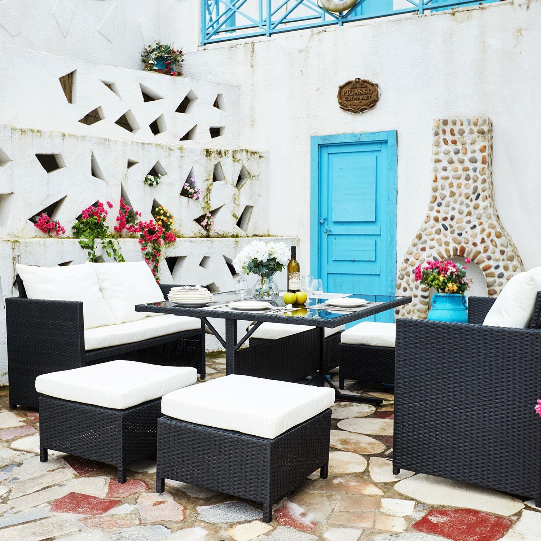 newah noir blanc salon de jardin encastrable en r sine. Black Bedroom Furniture Sets. Home Design Ideas