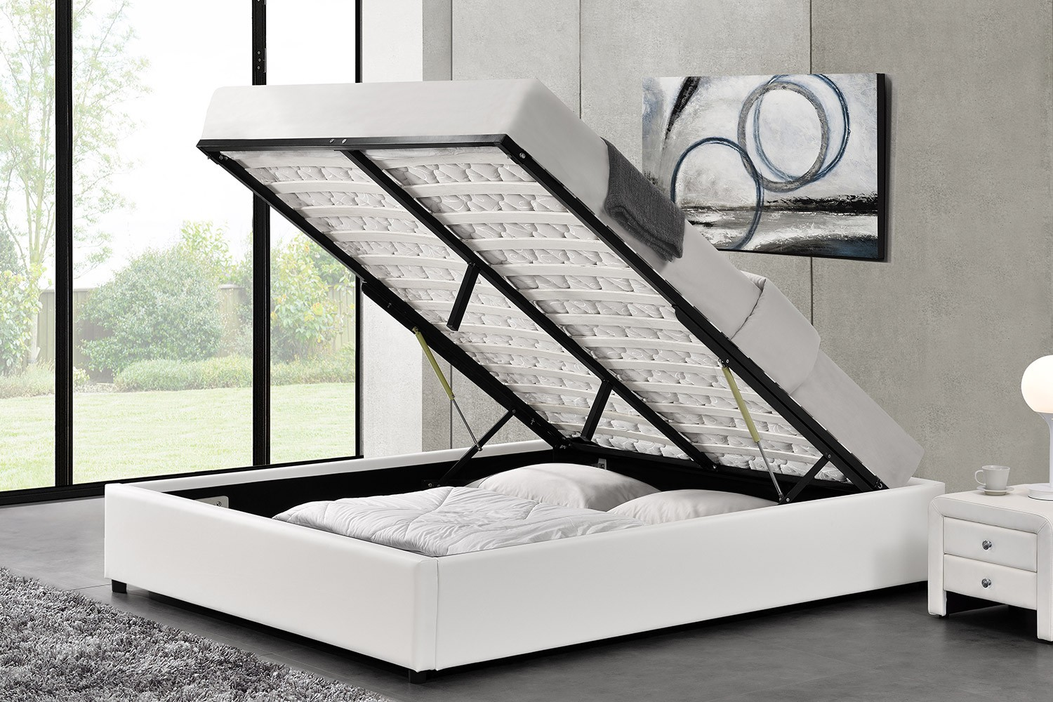 lit oakley structure de lit blanc avec coffre de rangement int gr 160x200 cm cadres de lit. Black Bedroom Furniture Sets. Home Design Ideas