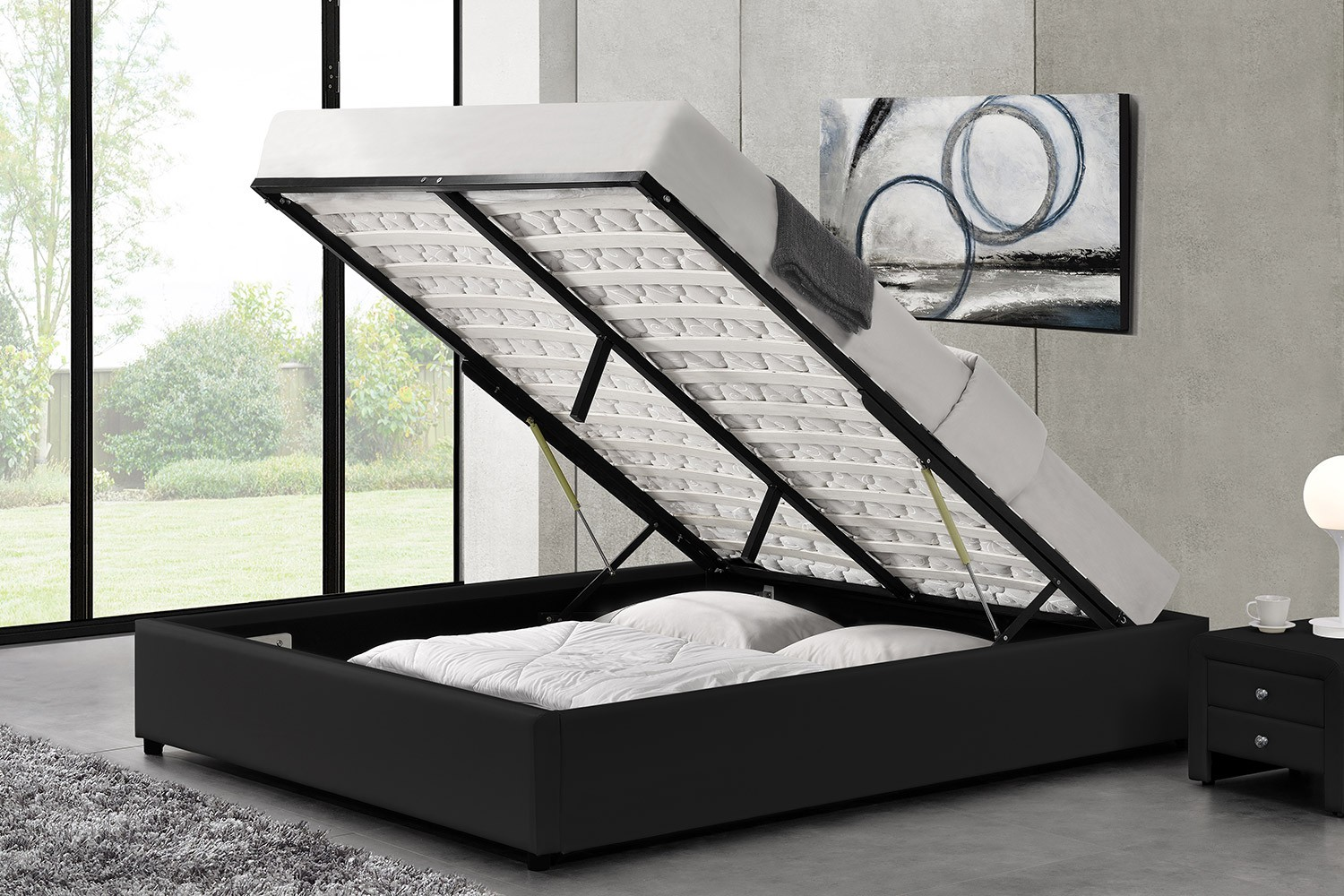 lit oakley structure de lit noir avec coffre de rangement int gr 160x200 cm. Black Bedroom Furniture Sets. Home Design Ideas