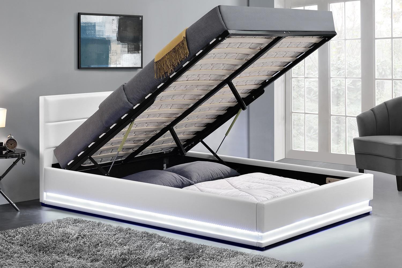 lit los angeles structure de lit en simili blanc avec rangements et led int gr es 140x190 cm. Black Bedroom Furniture Sets. Home Design Ideas