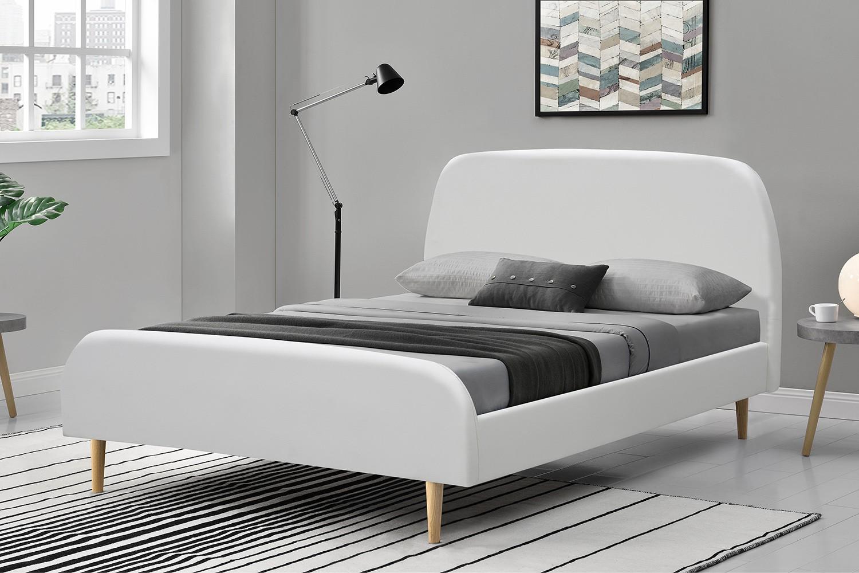 Lit Vlika Cadre De Lit Scandinave Blanc Avec Pieds En Bois 160x200cm