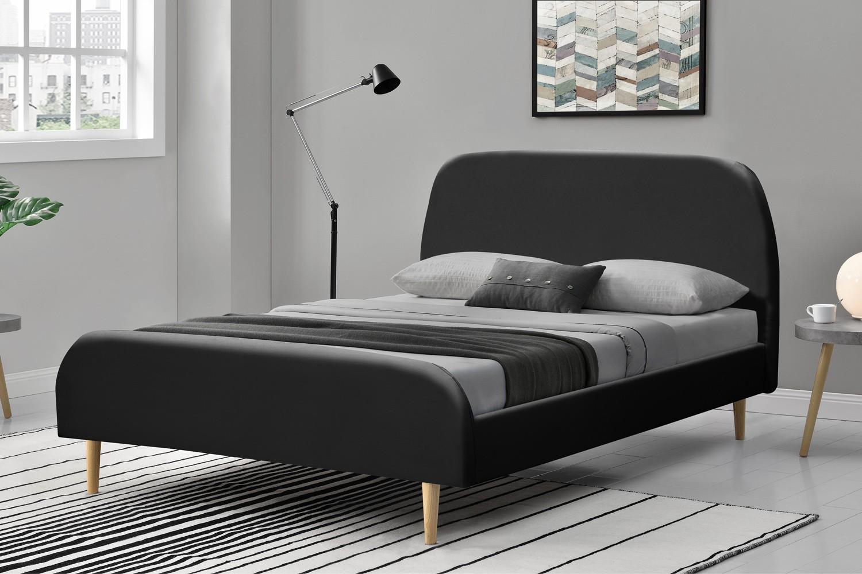 lit vlika cadre de lit scandinave noir avec pieds en bois 140x190cm. Black Bedroom Furniture Sets. Home Design Ideas