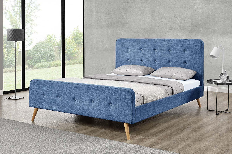 Monia 160 Cadre De Lit Scandinave Bleu Avec Pieds En Bois 160x200