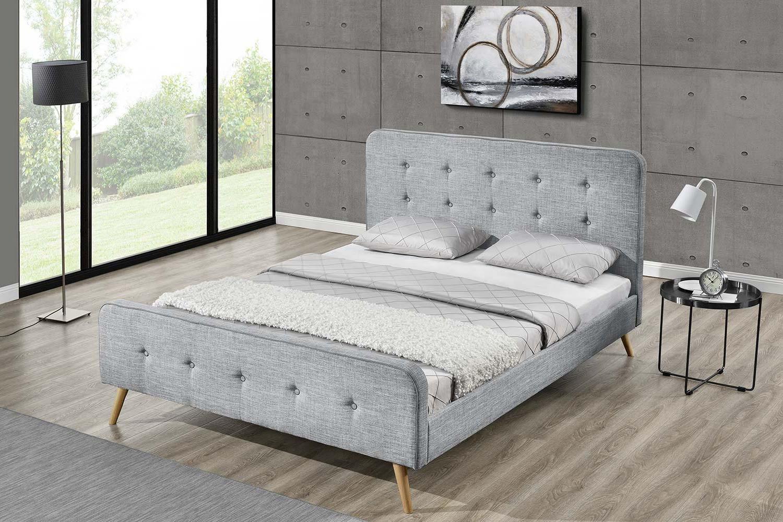 monia 140 cadre de lit scandinave gris clair avec pieds. Black Bedroom Furniture Sets. Home Design Ideas
