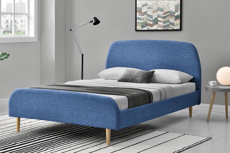 lit vlika tissu cadre de lit scandinave bleu avec pieds en bois 160x200cm. Black Bedroom Furniture Sets. Home Design Ideas