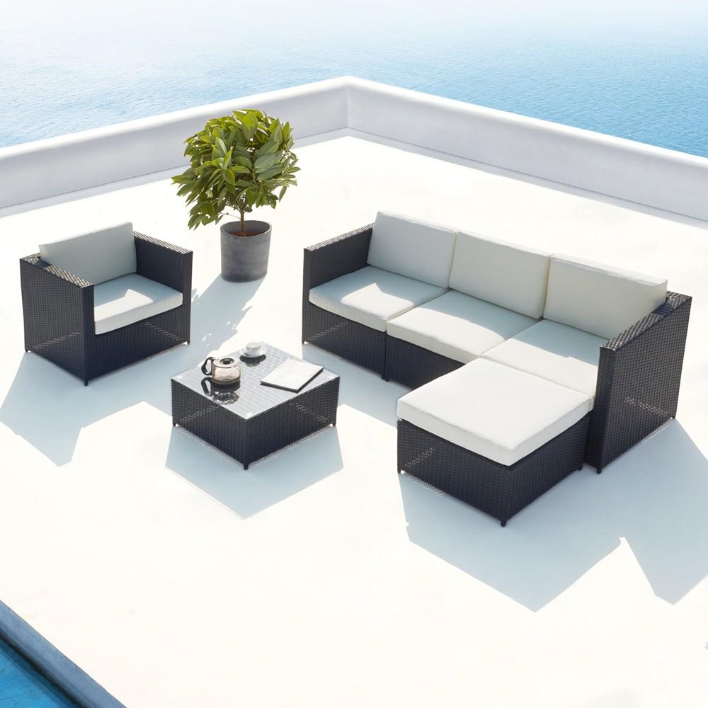 Galino : salon de jardin en résine tressée 5 places noir/blanc