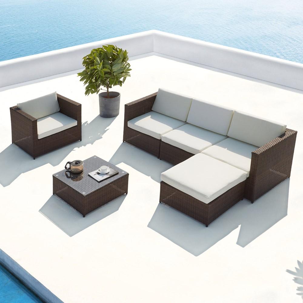Galino : salon de jardin en résine tressée 5 places marron/blanc