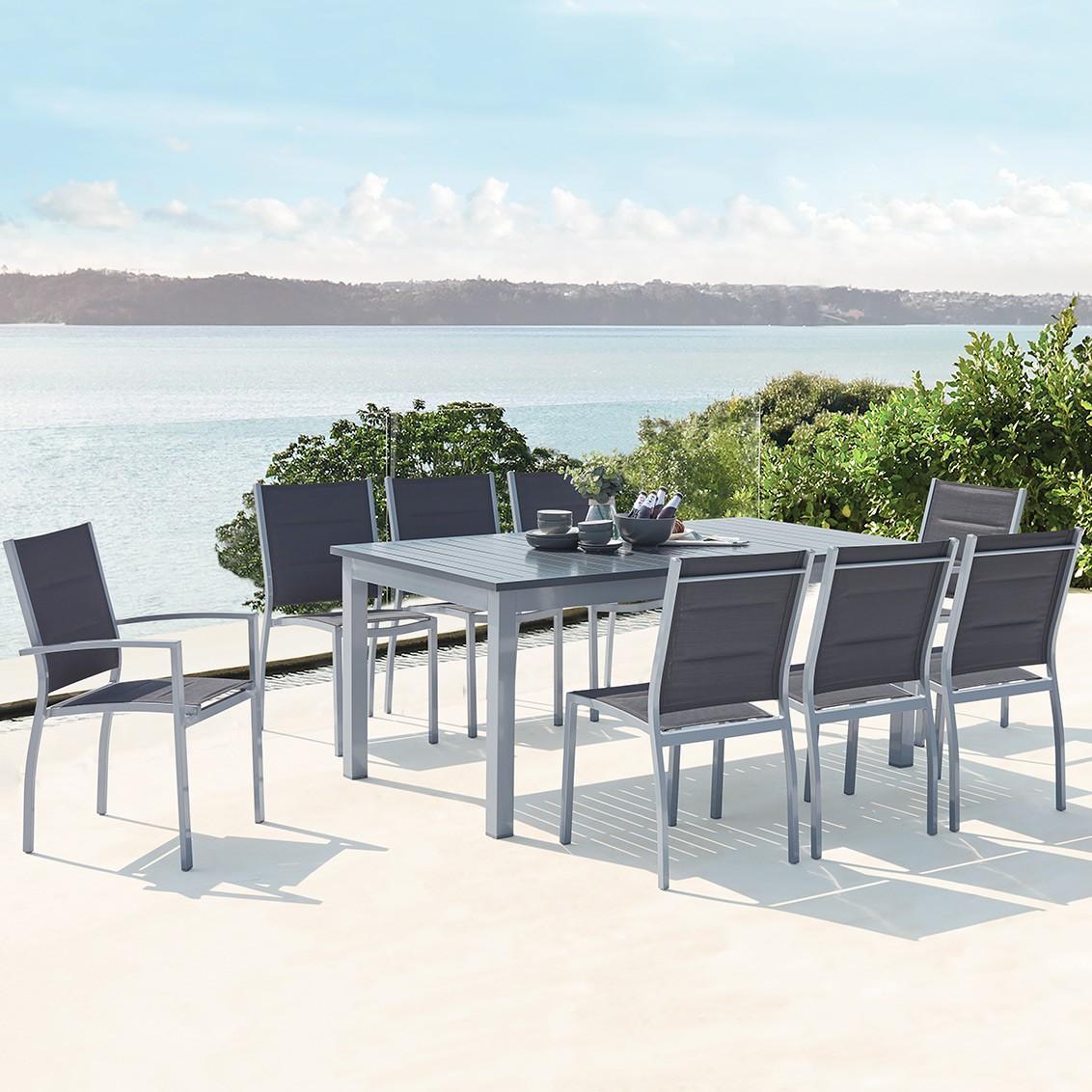 Mazzara 8 gris : salon de jardin extensible en aluminium + 8 assises ...