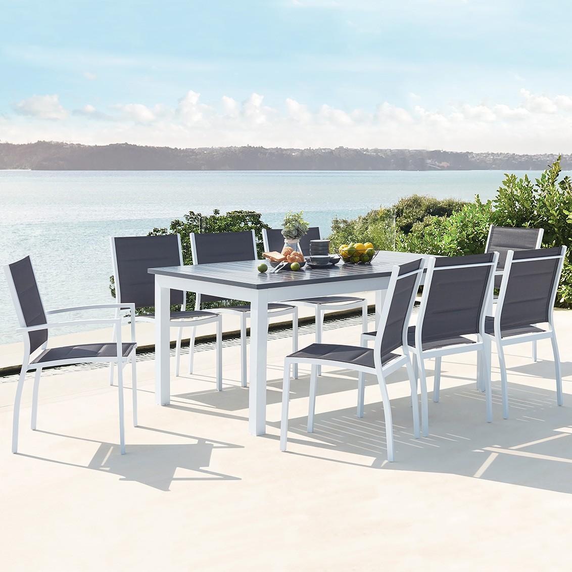 Mazzara 8 blanc : salon de jardin extensible en aluminium + 8 assises en  textilène