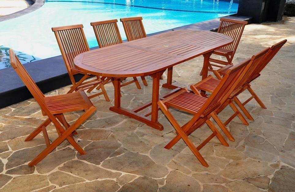 Telok 10/12 - Ensemble de jardin huilé - Table ovale 8 chaises