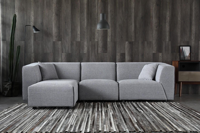 Coney gris clair/gris foncé : canapé modulable 3 places + 1 pour gris clair/gris foncé