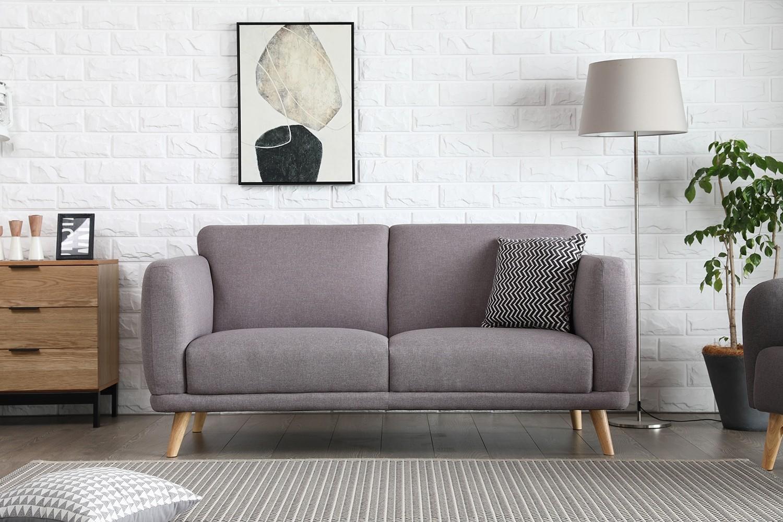 Vilona gris clair : canapé scandinave 3 places gris clair
