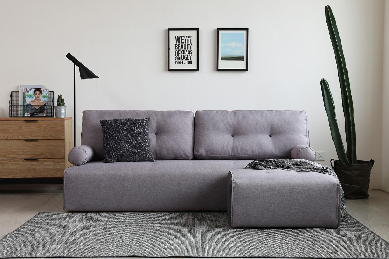 Manhattan gris clair/gris foncé : canapé modulable 3 places + 1 pouf ...