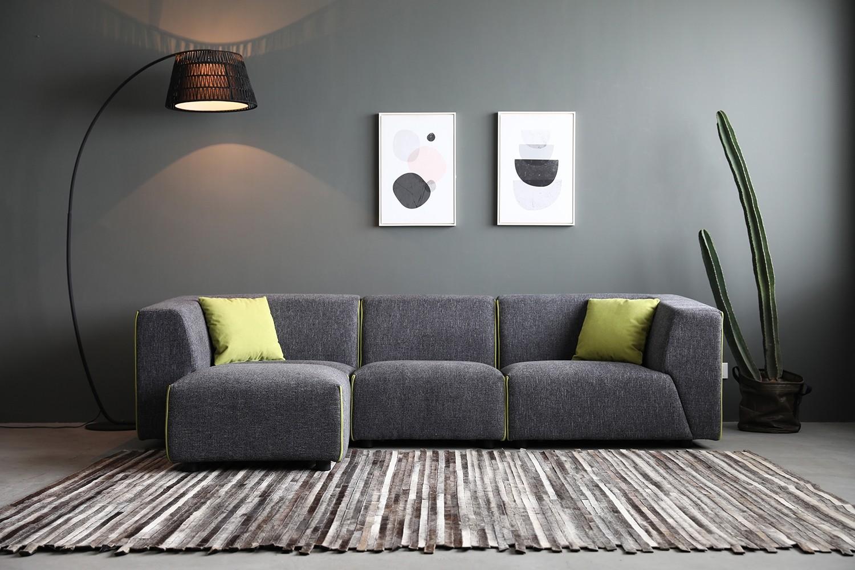 Coney gris foncé/vert : canapé modulable 3 places + 1 pour gris foncé/vert