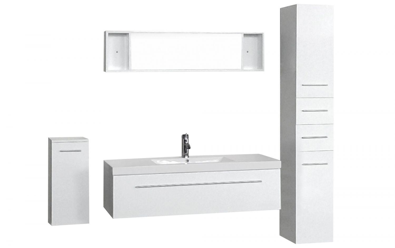 Zgoa   Ensemble 3 Meubles + 1 Vasque + 1 Miroir Pour Salle De Bain   Blanc