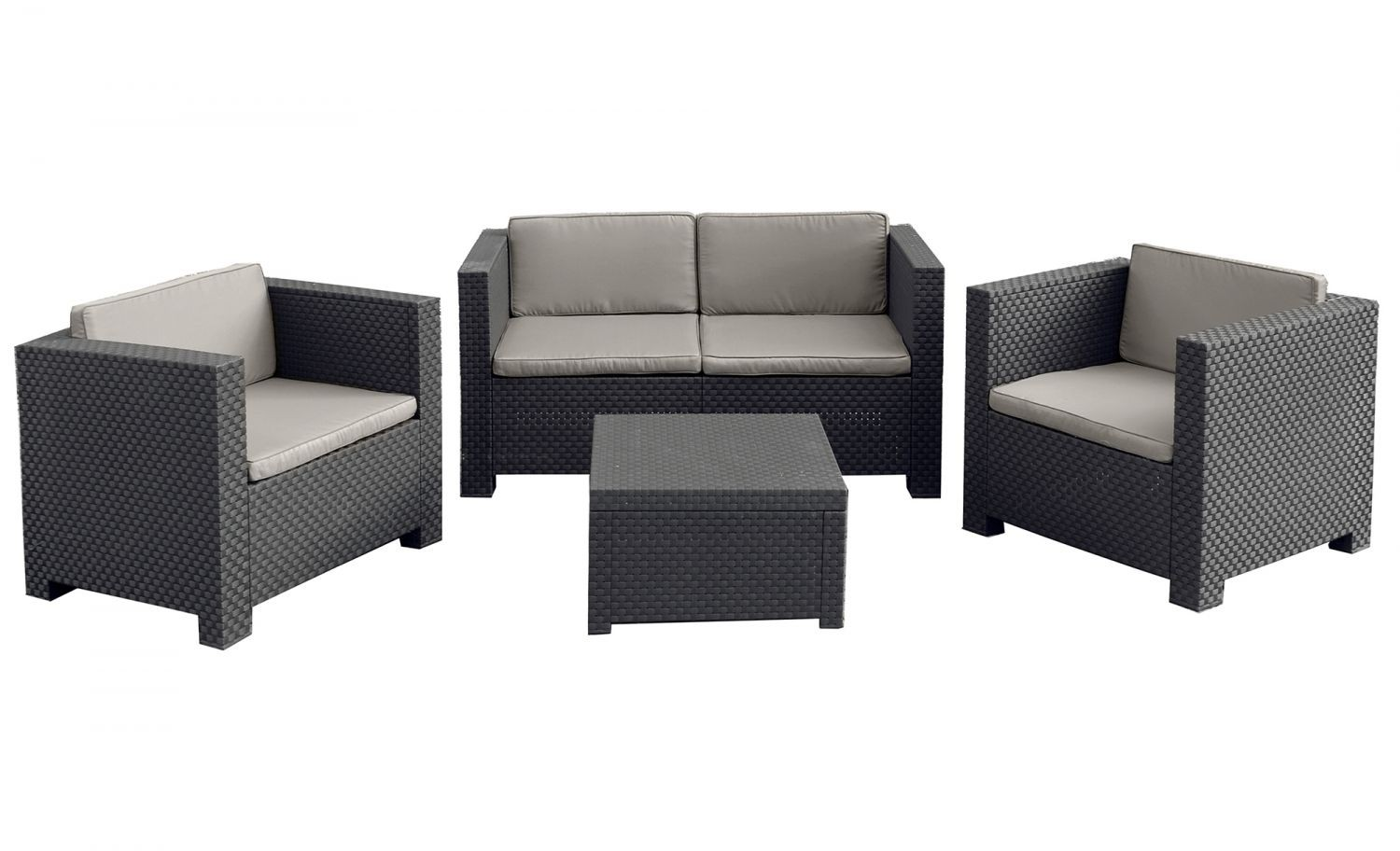 ubud 4 salon de jardin 4 places effet r sine tress e antracite. Black Bedroom Furniture Sets. Home Design Ideas
