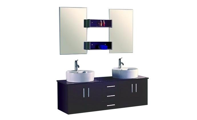 Solesio - ensembles meuble + 2 vasques + 2 miroirs pour salle de ...