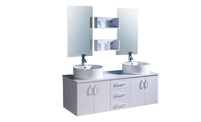 Solesio ensemble meuble 2 vasques 2 miroirs pour for Meuble salle de bain 2 vasques blanc