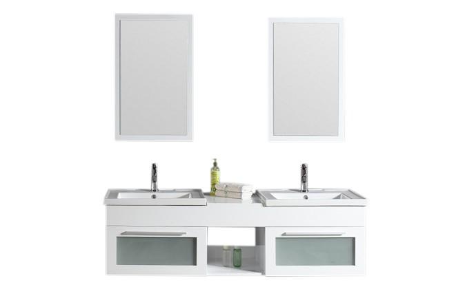 Omble - ensemble : meuble, 2 vasques, 2 miroirs pour salle de bain ...