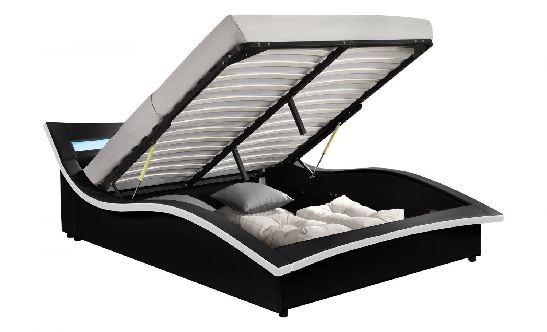 vermon cadre de lit coffre avec led noir 140x190cm cadres de lit rangements lits. Black Bedroom Furniture Sets. Home Design Ideas